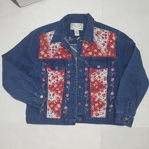 Vintage 80s Denim Jacket with Floral Patch Details